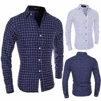 ZOGAA Brand men dress shirts long sleeve Smart Casual Polyester Plaid mens  streetwear shirt Size S-2XL