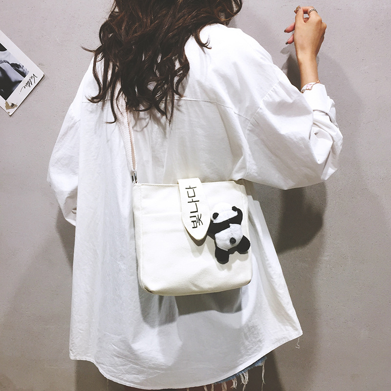 New The Ancient Wind Panda Shoulder Bag Cute Crossbody Bags Canvas Bag Messenger Bag Students Literary Retro Shopping Bags