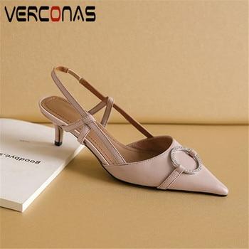VERCONAS 2020 Fashion Woman Sandals Woman Pumps Brand Design Genuine Leather Rhinestone Pointed Toe Thin High Heeled Shoes Woman
