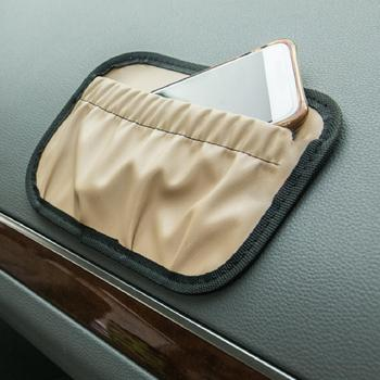 Car Storage Bag Paste Multifunctional Organizers Faux Leather Door Stick Pockets for Auto Seats Simple Practical image