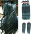 Negro perla S mechones azules con cierre brasileño recto Remy cabello humano 3 mechones S azul con cierre