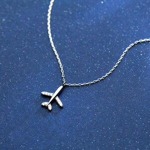 Image 2 - Trusta 100% 925 Sterling Silber Halskette Schmuck Reise Flugzeug 925 Anhänger Kurze Halskette Geschenk Für Frauen Mädchen Teens DS1344