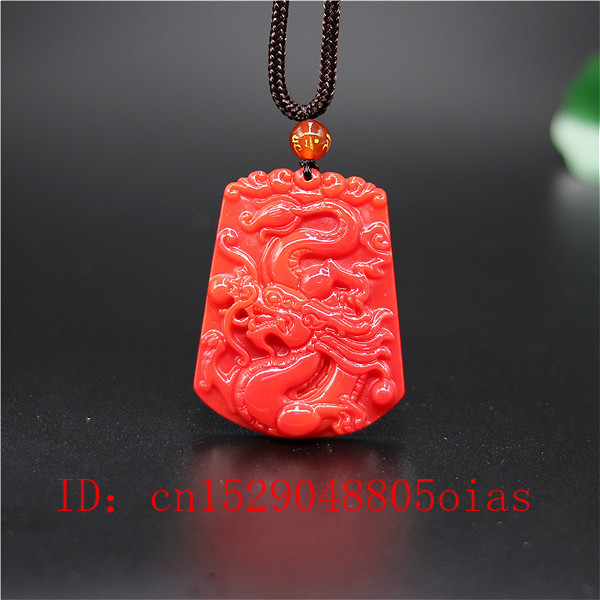 Natural Red Coral Jade Stone Dragon Pendant Necklace Chinese Jadeite Jewelry Charm Carved Amulet Fashion Gifts For Women Men