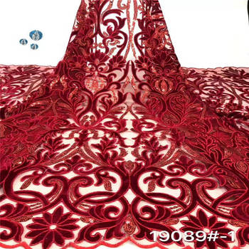 Red French Sequins Net Lace Fabric 2020 African Velvet Lace Fabric High Quality Nigerian Sequin Lace Embroidered Wedding Fabric