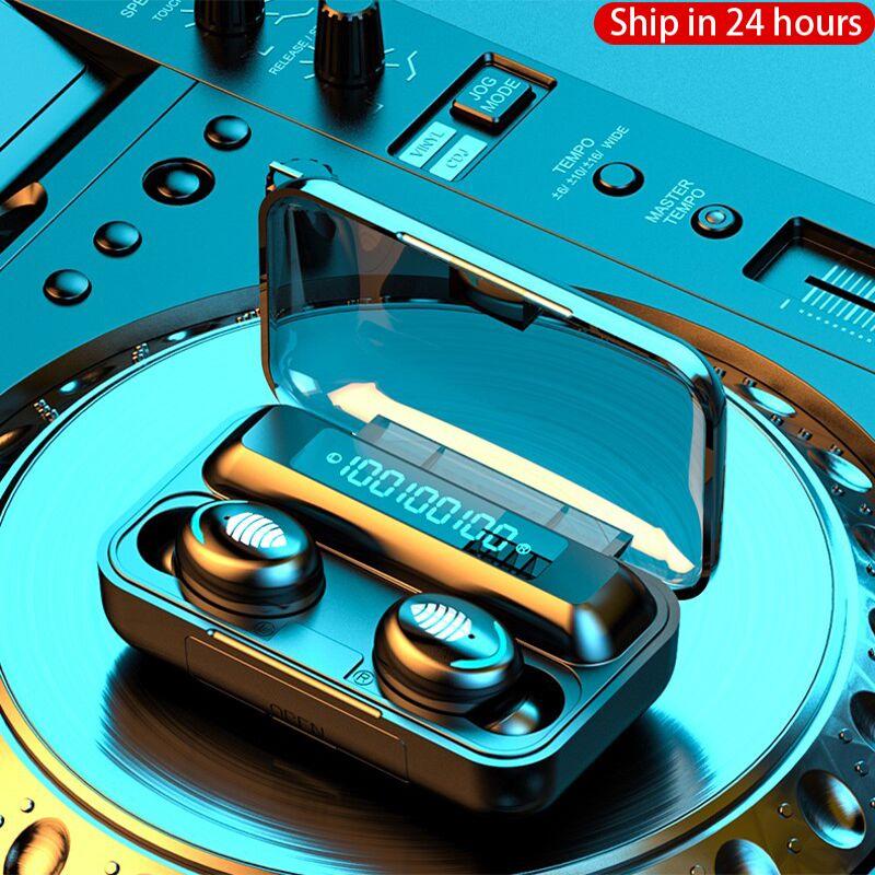New 2200mAh LED Bluetooth Wireless Headphones Earphones Earbuds TWS Touch Control Sport Headset Noise Cancel Earphone Headphone