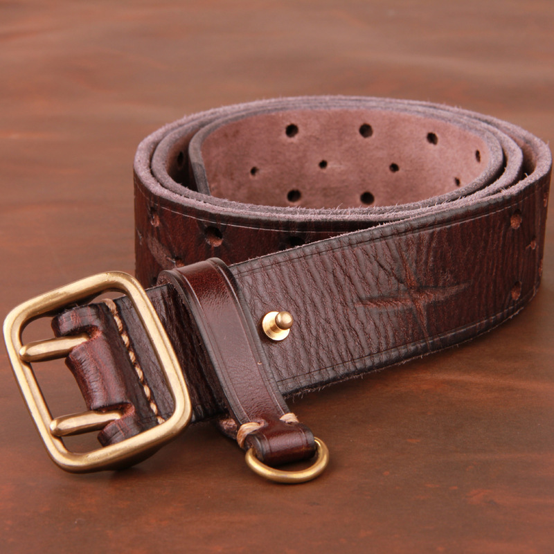 Double-pin Copper Buckle Men's Luxury Fashion Belt Retro First Layer Pure Cowhide Jeans With Genuine Leather Stylish Men's Belts