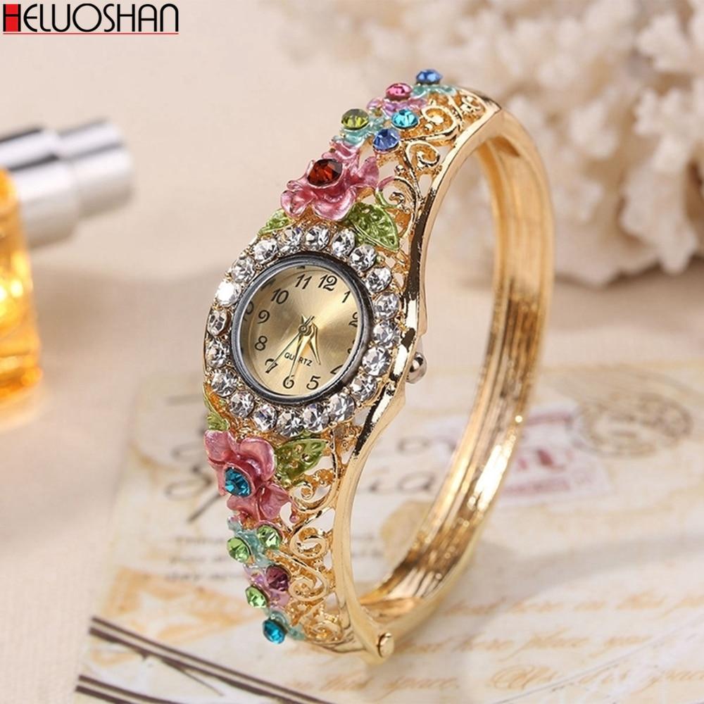 2020 Golden Luxury Bracelet Watch Lady Flower Design Alloy Band Elegant Women Wristwatch Crystal Female Dress Watch Reloj Mujer
