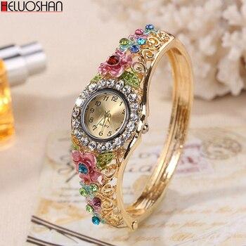 2020 Golden Luxury Bracelet Watch Lady Flower Design Alloy Band Elegant Women Wristwatch Crystal Female Dress Reloj Mujer
