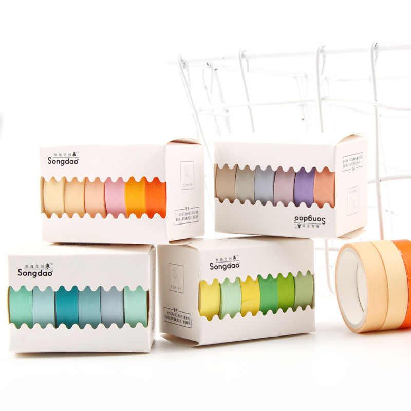 6 ชิ้น/ล็อต Rainbow เทปกาว Washi เทปสีกาวเทปกระดาษเทปกาวการพิมพ์ Scrapbooking ตกแต่ง