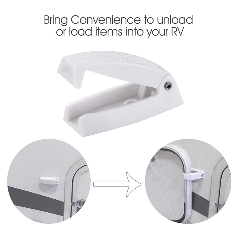 10P Plastic White RV Trailer Rounded Baggage Door Catch Compartment Latch Holder