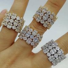 GODKI luksusowe 3 wiersze w 1 śmiałe oświadczenie pierścionki z bagietką cyrkonu kamień 2020 kobiety biżuteria na przyjęcie zaręczynowe wysokiej jakości