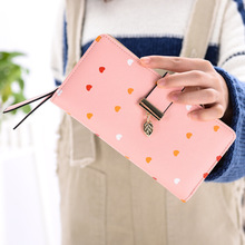 Ladies long wallet 2019 new Korean fashion love leaves ladies 30% coin purse