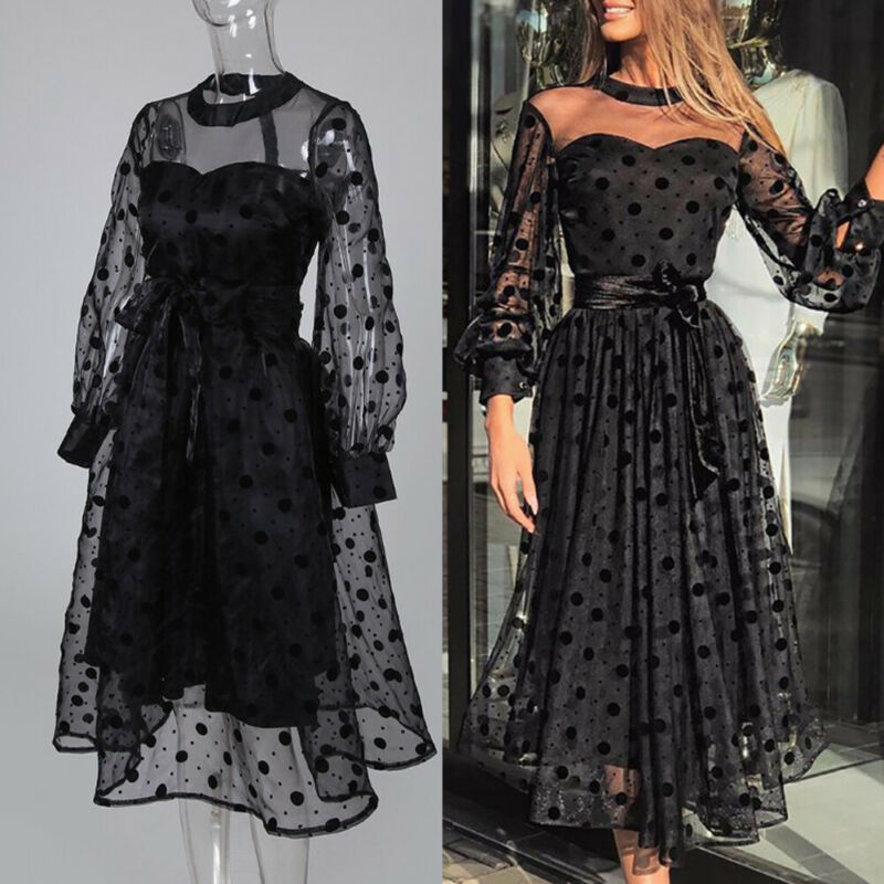 Vintage Stylish Mesh Polka Dot Midi Dress Women 2020 Fashion Round Neck Long Sleeve See Through Dresses Casual Vestidos Mujer