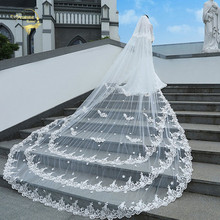 Wedding Accessories White Ivory Veils 4M Long 2M Wide Lace Solid Flower Cathedral Bridal Veu De Noiva Real Photos