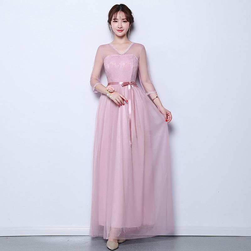 Formal Plus Size Bridesmaid Dress Long Half Sleeves Woman Dresses For Party And Wedding White Host White Sexy Prom Vestido Mujer