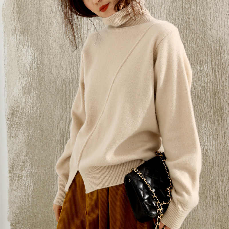 BELIARST Autumn and Winter New High-neck Cashmere Pullover Sweater Woman Hhigh Collar Knit Loose Bottoming Sweater Large Size