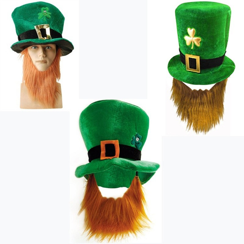Saint St Patricks Day Green Hat Lucky Costume Accessories Celebration Carnival Props for Irish Fun Party Hat with Beard image