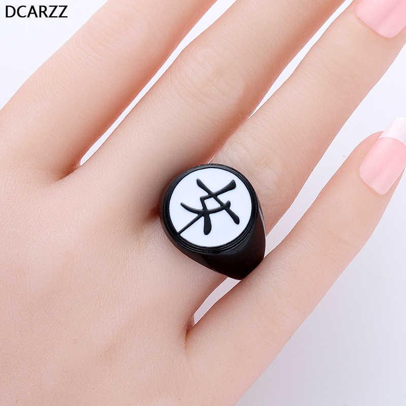"""Kagami משפחה של קרסט שחור טבעת תכשיטים Tsurugi קאנג 'י """"נשי"""" פרת משה רבנו וחתול נואר Kagami של טבעת עבור נשים אנימה"""