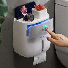 À prova dwaterproof água suporte de papel higiênico fixado na parede suporte de toalhas de papel para cozinha banheiro caixa de armazenamento de papel higiênico rolo titular