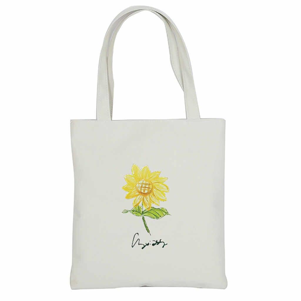 Kadın büyük el çantası baskı Lady çanta Casual plaj tote eko alışveriş çantası günlük ürün katlanabilir tuval omuzdan askili çanta hiçbir özelleştirilebilir