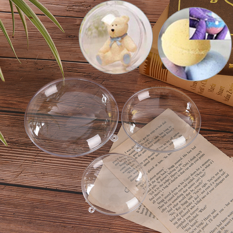 1/2PCS Bath Bomb Molds Crafting Mold Plastic Transparent Fillable Ball Ornament Christmas Heart Shape Ball 65/70/80/90/110mm