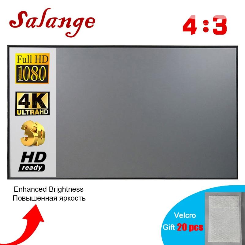 Salange проектор экран 4:3, 60 72 84 100 дюймов домашний открытый офис Портативный видео проектор 3D 4K 1080P проекционный экран