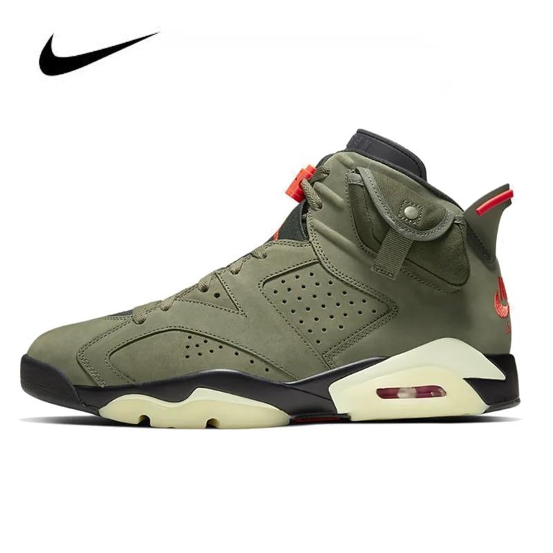 Nike Air Jordan 6 Men's Basketball Shoes Travis Scott Medium Sneakers Original HighTop Basketball Unisex Jordan Women Shoes
