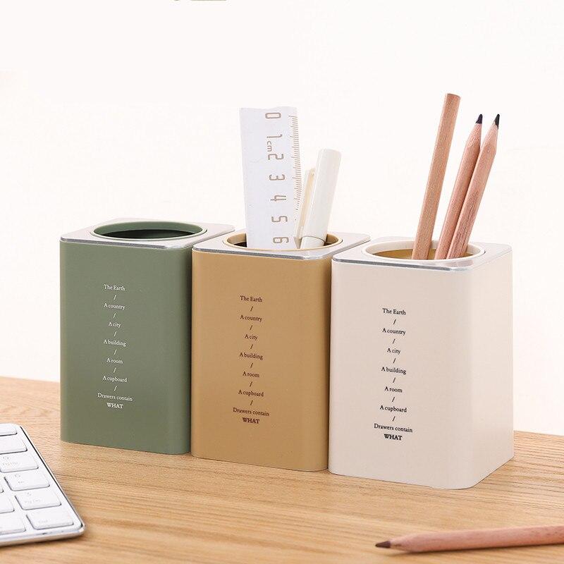 1pc Desktop Square Pen Holder Desk Organizer Box Office School Cute Plastic Makeup Organizer Storage Box Pen Pencil Pot Cosmetic