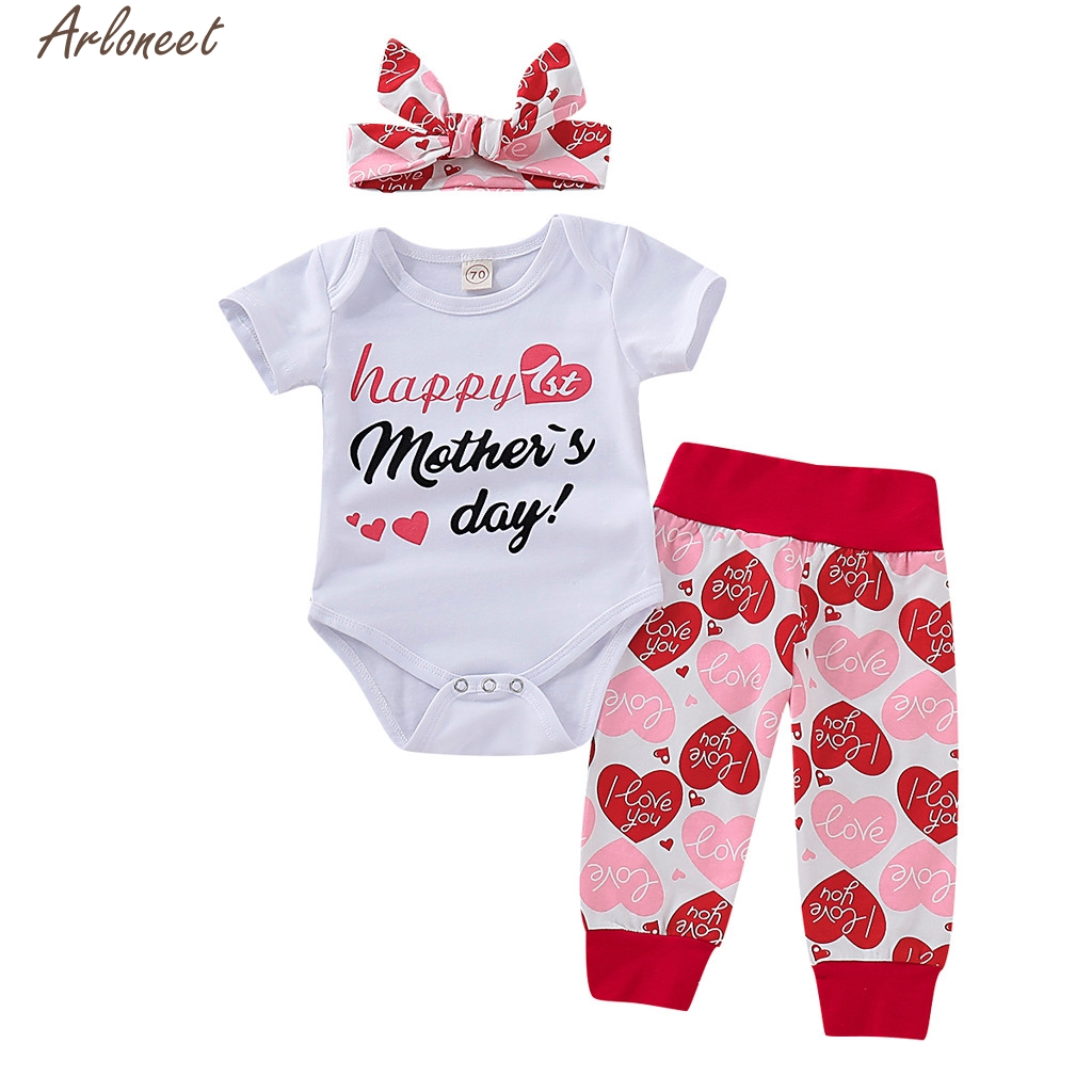 3PCS Baby Girls Fathers Day Outfit Set Short Sleeve Rompers Heart Pants with Headband