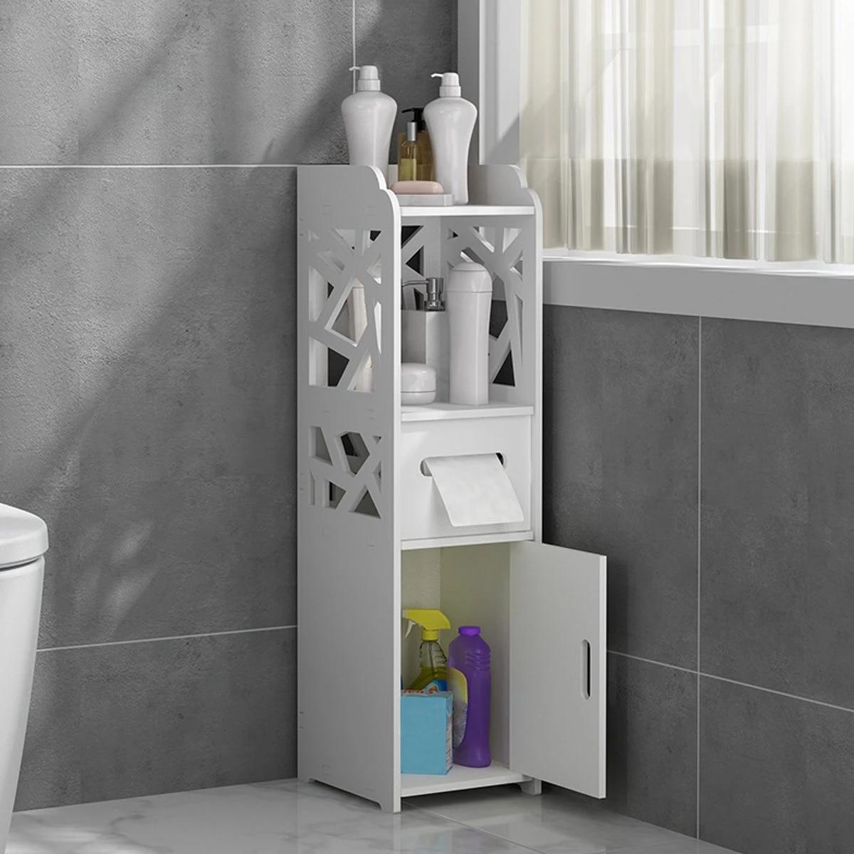 Small Bathroom Storage Corner Floor Cabinet With Doors And Shelves Thin Toilet Vanity Cabinet Narrow Bath Sink Organizer Storage Holders Racks Aliexpress