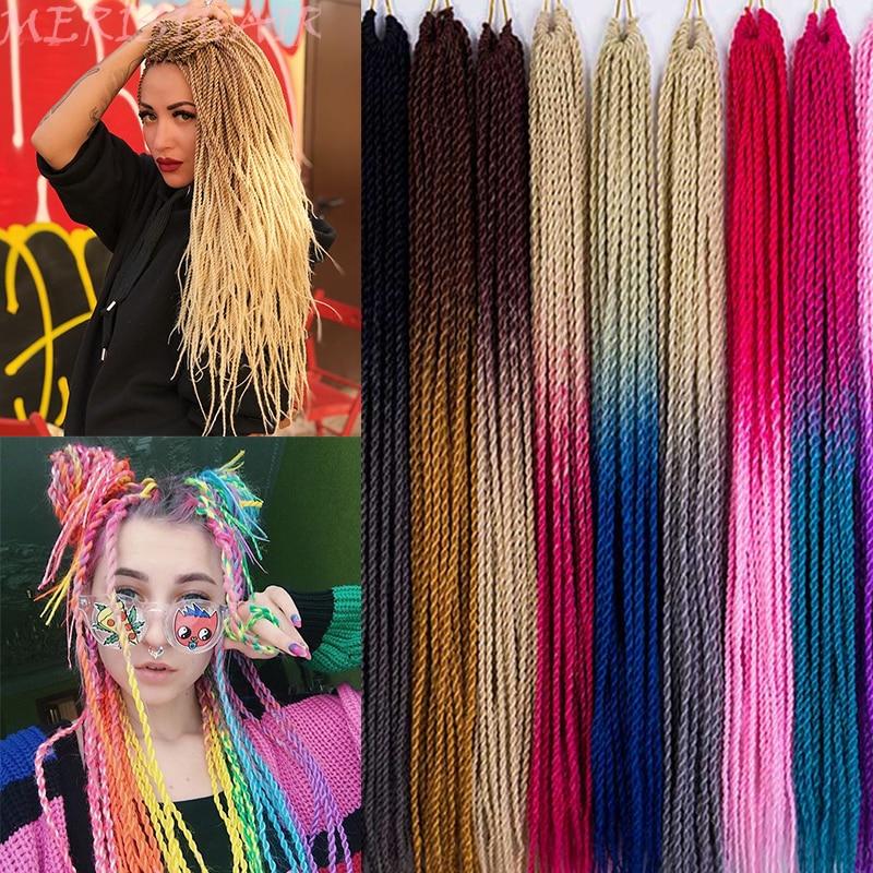 MERISIHAIR Ombre sénégalais torsion cheveux Crochet tresses 24 pouces 30 racines/paquet synthétique tressage cheveux pour femmes gris, bleu, rose, bro