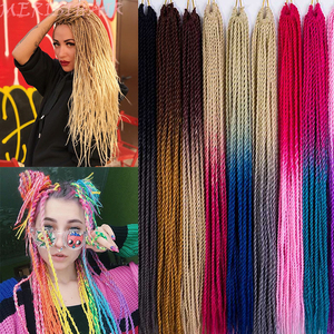 MERISIHAIR Ombre Senegalese Twist Hair Crochet braids 24 inch 30 Roots/pack Synthetic Braiding Hair for Women grey,blue,pink,bro(China)