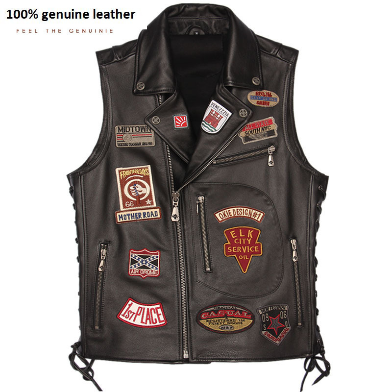 Motorcycle Leather Vest Patches 100% Real Cowhide Slim Fit Biker Leather Vest Men Motor Waistcoat Leather Jacket Sleeveless M449