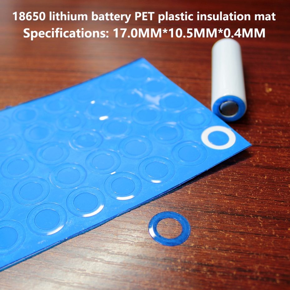 100pcs/lot 18650 lithium battery PET plastic positive insulation gasket original hollow pad