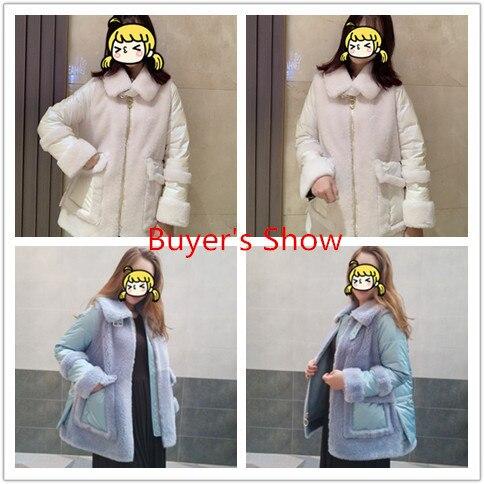 Shearling Sheep Fur Down Jacket Women Clothes 2020 Real Fur Coat Winter Jacket Women 100% Wool Coats Abrigo Mujer MY3532 S