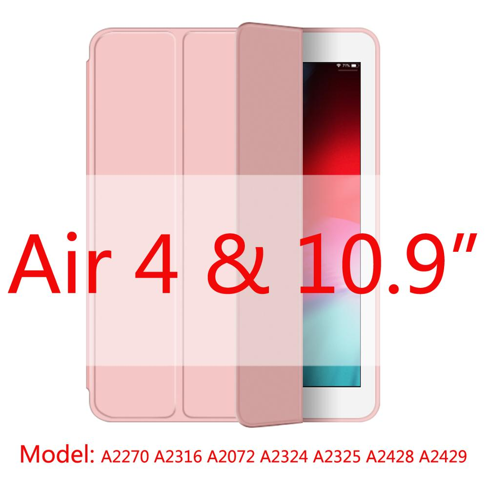 Pink-Air4 Beige 2020 New Soft Silicone Case For ipad Air4 with Smart Sleep Wake Funda Capa Case for