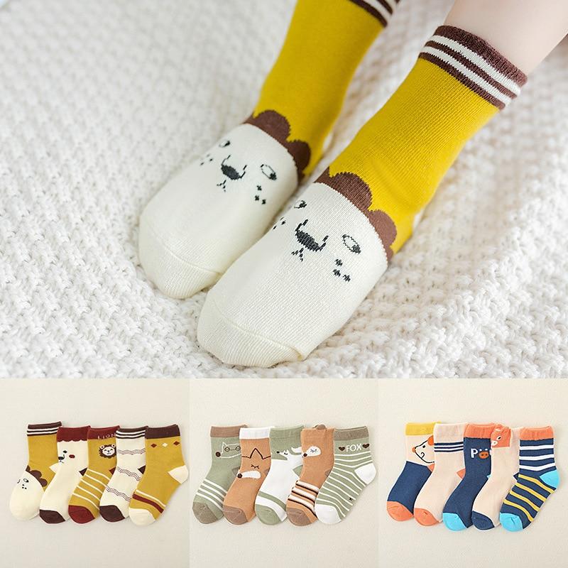 5pair Baby Kids Boys GirlsCotton Socks Warm Thick Non-slip Floor Socks 3-12Y