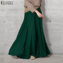 ZANZEA – Pantalon à jambes larges pour femmes, culotte élégante, taille élastique, Long, couleur unie, 2021