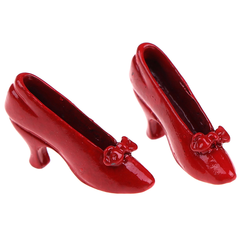 1 Pair 1:12 Dollhouse Miniature Accessories Red High-heeled Shoes Princess Shoe Dolls Accessory