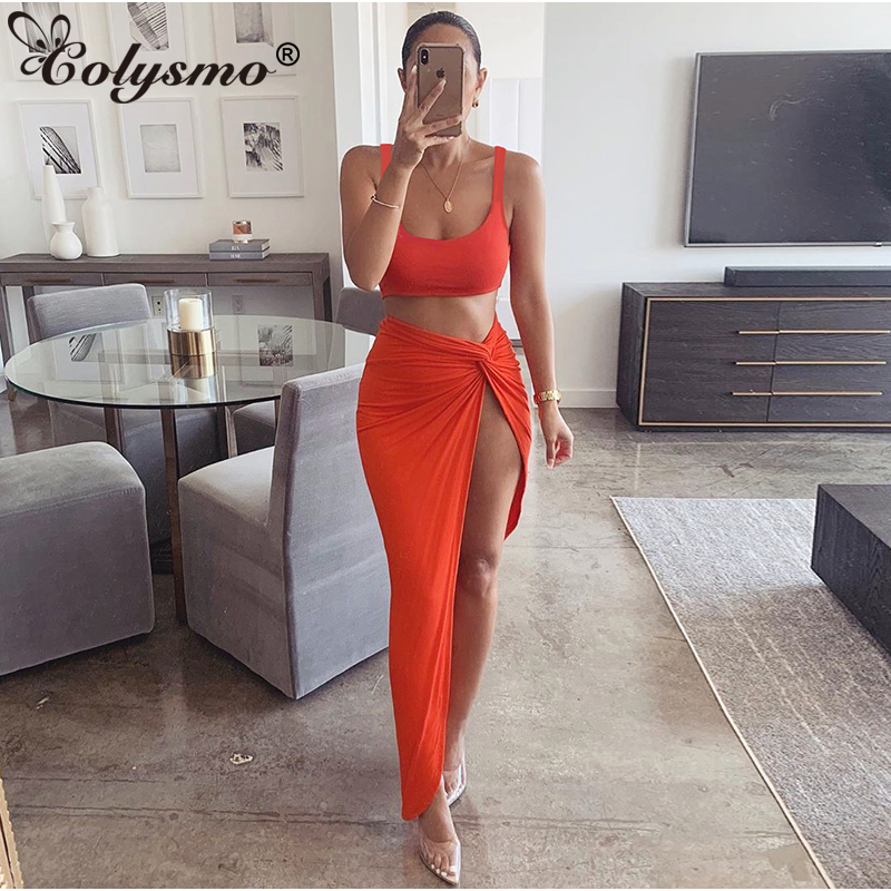 Colysmo 2020 Summer Two Piece Set Low Cut Vest Long Skirt Set Casual Beach Party  2 Piece Set Women Hight Side Sexy Club Outfits