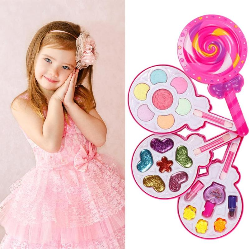 Kids Make Up Toy Fashion Girl Lollipop Cosmetic Kit Beauty Safety Non-toxic Pink Cosmetic Girl Gifts Play Princess Toys