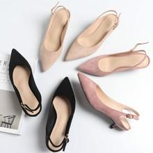 Womens Shoes Slingbacks High Heels Shoes Woman 2020 Flock Pointed Toe Casual High Pumps High Heels Female Wedding Sandals Pumps