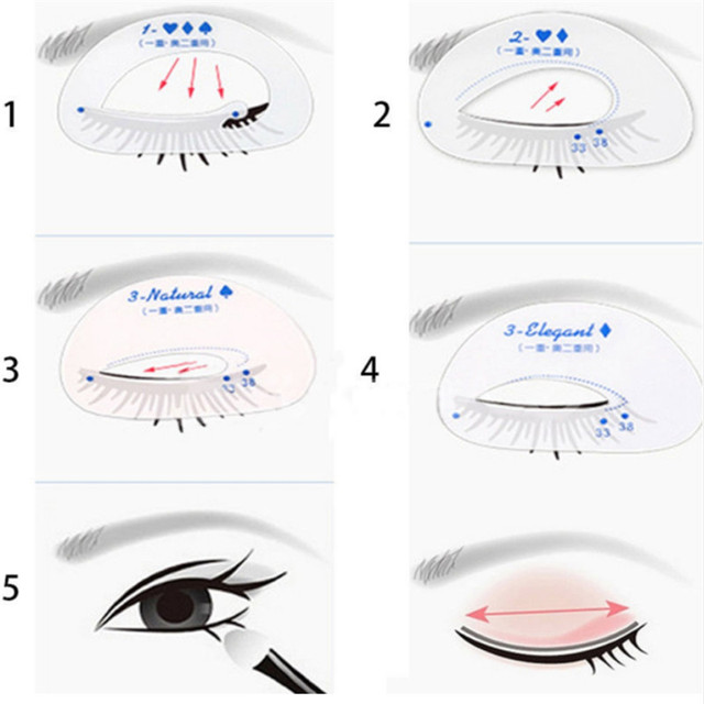 6PCS Eyeliner Eye Shadow Stencils Winged Eye Liner Pencil Eyeshadow Models Template Shaping Guide Stencil Eyes Make up Aid Tools 1