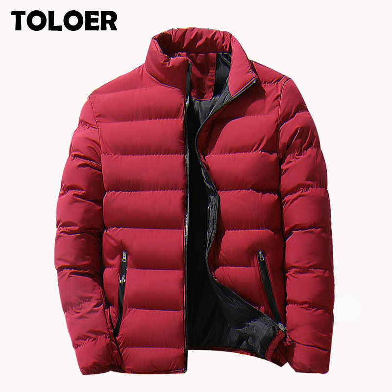 Brand Men Parka Cotton Padded Winter Jacket Coat Mens Warm Jackets Male Solid Color Stand Collar Zipper Thick Coats Down Parkas