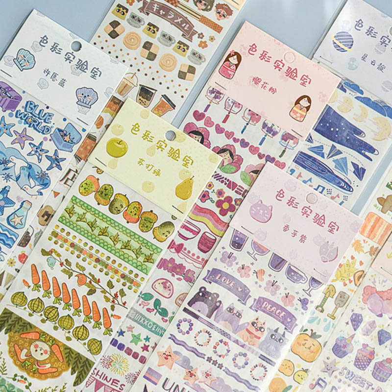 1Pc Kawaii Cartoon Stickers Cute Decor Stationery Stickers Paper Adhesive Sticker For Kids Scrapbooking Diary Supplies