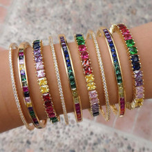 2020 nova baguette zircônia cúbica pulseira para mulheres homens jóias de luxo ouro cheio arco-íris cz tênis lindo na moda bangle