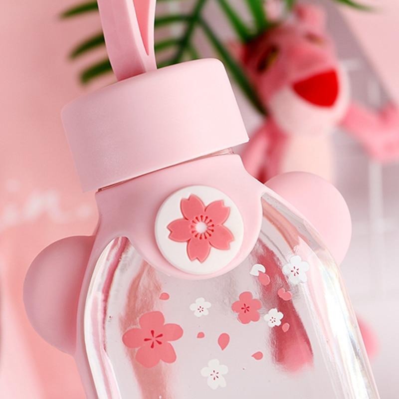 Kawaii Portable Cherry Blossom Sakura Glass Bottle 3