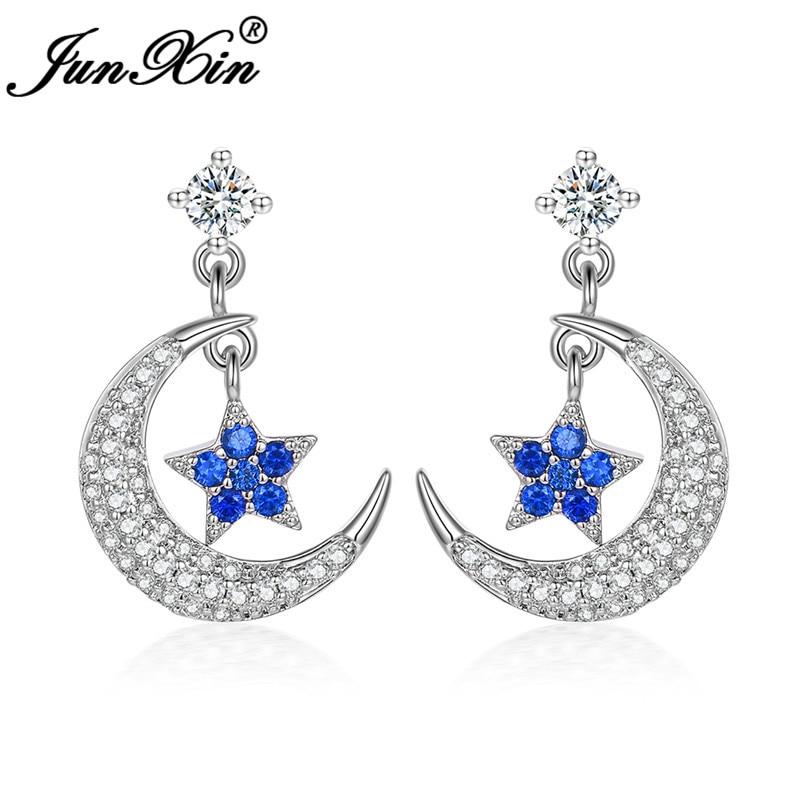 Boho Female Crystal Cute Blue Star Moon Earrings White Gold White CZ Stone Long Stud Earrings For Women Wedding Jewelry