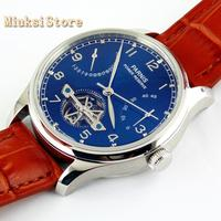 Parnis 43mm blue dial steel case power reserve automatic ST2505 leather mens business mechanical Watch