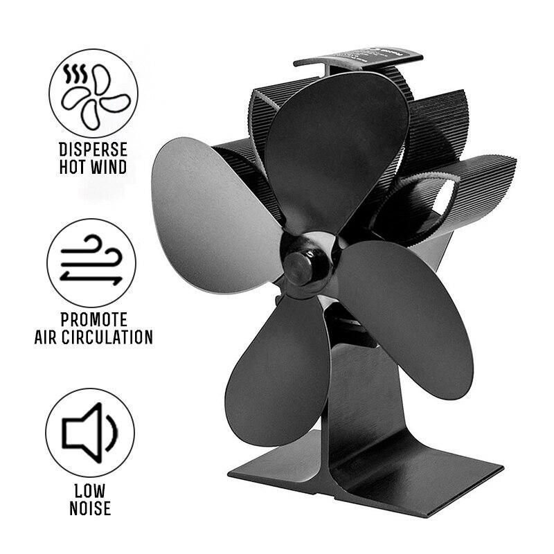 Black Fireplace 4 Blade Heat Powered Stove Fan 1100RPM Komin Log Wood Burner Eco Silent Fan Home Efficient Heat Distribution